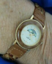 DESIGN TIME A2035 BRAIDED BROWN LEATHER BAND GOLD TONE WATCH WORKS NEW BATTERY