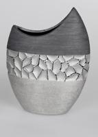 Formano Vase 23 x 29 cm silber-grau Keramik Modern Hand gefertigt 739438