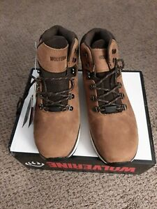 "Men's Boots Wolverine BODI 5"" W30193 Tan Work Soft Toe Red/Brown Laces Waterproo"