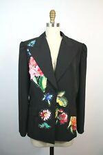 Alberto Makali Black Pinstriped Flower Applique Blazer Jacket 14