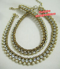 Designer Antique Gold Tone /Plated Anklet / Payal With Pearl & Stone