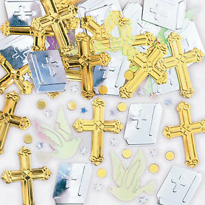 Gold Cross 1st Holy Communion Christening Table Confetti Decorations Boys Girls