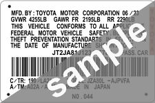 Toyota Decal Tag Sticker ID Data Window Label Number Screen Pillar Car VIN Door