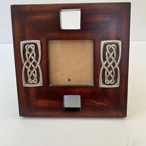 Islandcraft Celtic Wood Carving Photo Frame with Pewter Celtic Knot.