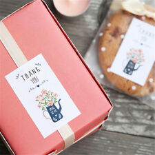 60PCS Thankyou Flowers Paper Baking Cake Seal Label Hand Made Gift Stickers