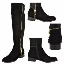 Womens ladies low heel stretch gold zip knee high riding boots 3-8