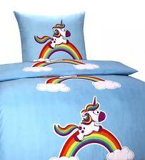 2 tlg. Bettwäsche Einhorn 135x200 Kinder Regenbogen Bettbezug Kissenbezug Neu