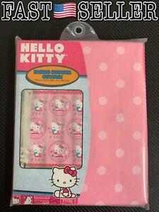 Hello Kitty Girls Fabric Shower Curtain Pink Polka Dots Flowers 72x72 Sanrio NEW