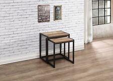 Birlea Urban Industrial Chic Nest of 2 Tables Rectangular Wood Black Metal