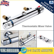 Modern Bathroom Bar Mixer Shower Valve Thermostatic Round Chrome Dual Control