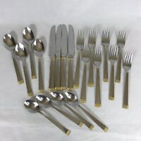 International Stainless Flatware Gold Band 20 Pieces