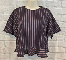 Zara Basic Collection Navy Red Striped Cropped Ruffle Hem Short Sleeve Blouse S