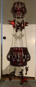 2 Tiered Hanging Basket/Lantern. Hand made from tin cans. Humming Birds-Folk Art