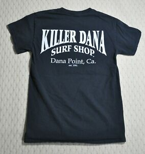 KILLER DANA Point CA SURF SHOP Est 1991 Surfer SHIRT Sz S Black 2-Sided