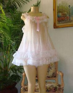 Neljen Vintage Style Baby Doll Slip Nighty - lots of Sissy PINK Ruffles M-2XL