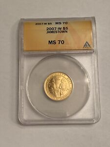 2007-W Jamestown US Commemorative $5 Gold Coin ANACS Graded MS70 MS-70