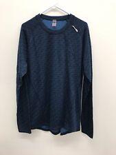 Men's Norheim Merino Wool Midweight Longsleeve T-shirt Blue Pattern - NEW
