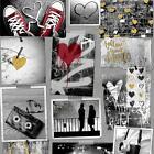 Muriva Love Rocks Heart Pattern Wallpaper Photo Collage Camera Glitter Gold