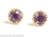 9ct Gold Amethyst Stud earrings Gift Boxed