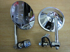 "4"" Mirror ( Sold in PAIRS ) Clamp On Harley Chopper Bobber Custom Cycle Haven"