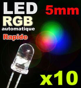 723/10# LED 5mm RGB  variation automatique rapide 10pcs