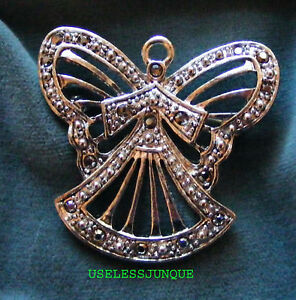 SILVER PLATED MARCASITE ANGEL  PIN BROOCH #1230 FREE SHIPPING IN USA