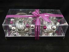 Silver Mottled Tea Light Holders with Christmas Garland - 2 x Holders.