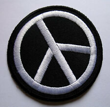 BLACK & WHITE PEACE SIGN SYMBOL Embroidered Iron on Patch + Free Shipping