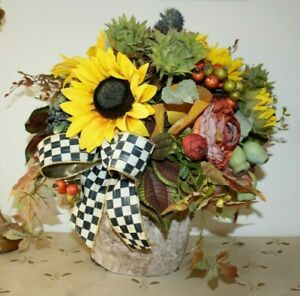 """VERY PRETTY FALL DESIGN IN """"BIRCH"""" CONTAINER WITH MACKENZIE CHILDS BOW!"""