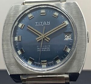 NOS Titan Cal. Eta 2472 Working Vintage Watch Automatic Date 35,6mm 3WC