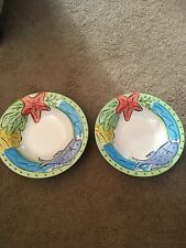 Set Of Two Hand Painted Key West 9� Serving Bowls Sango Dishwasher Safe Vacation