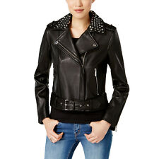 MICHAEL Michael Kors Leather Studded Moto Jacket NWOT (Black, X-Small)