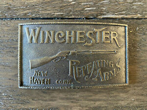 Vintage Winchester Repeating Rifle Arms New Haven Conn Brass Metal Belt Buckle