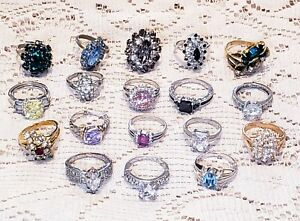 18 Piece Vintage and Modern Mixed Style Rhinestone Cocktail Ring Lot