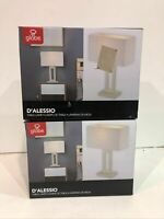 """2PK Globe Electric D'Alessio 20""""Soft Gold Finish Table Lamp w/ White Linen Shade"""