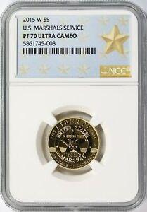 2015-W Gold U.S. Marshals Service Commemorative $5 NGC PF70 Ultra Cameo