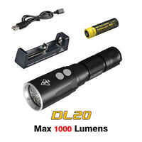 Nitecore DL20 1000lms Underwater Sport Diving Flashlight Torch+Battery+Charger