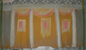 """Sybil Gibson folk art painting  Outsider - """"The Stage"""" Abstract  Large 19 x 36"""
