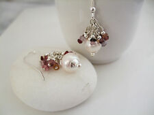 Beautiful Natural Pink Spinel & Freshwater Pearl Solid Sterling Silver Earrings