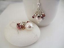 Hermoso Natural Rosa espinelas & Agua dulce Perla Plata esterlina sólida pendientes