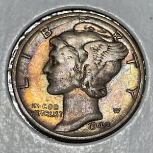 1942 10C Mercury Silver Dime ~ NATURAL SUPERB TONING!!!