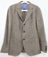 HACKETT Men's Brown Checkered Blazer Jacket, 100% Wool, size 38