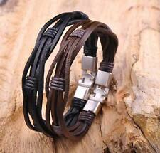 2pcs Surfer Hemp Leather Braided Mens Wristband Bracelet Cuff Black & Brown