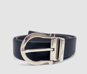 $395 Salvatore Ferragamo Men's Blue Reversible Silver Gancini Leather Belt 36