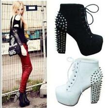 Womens Spike Studded Goth Punk  Platform High Heel Shoes Lace Up Ankle Boots C37