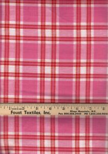 Textile Creations Madras Plaid Quilt Fabric Pink Style MA-177 By The Yard