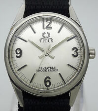 Vintage Titus 17J Swiss Made Manual Winding Stainless Steel Men's Wrist Watch