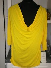 NWT We Be Bop Bright Yellow Rayon Wrinkle Fighting Cowl Neck Knit Blouse Top 3X