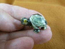 (Y-Tur-La-55) baby Turtle tortoise green Figurine carving gemstone love turtles