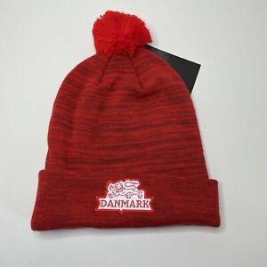New Denmark National Team Hat Beanie Red Nike Soccer Hockey Danmark Adult OSFA